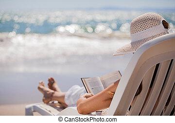 lecture, plage, délassant