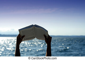 lecture, plage