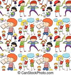 lecture, seamless, apprentissage, enfants