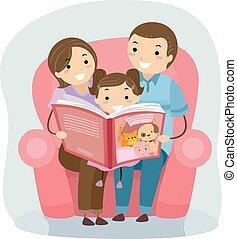 lecture, stickman, livre, famille