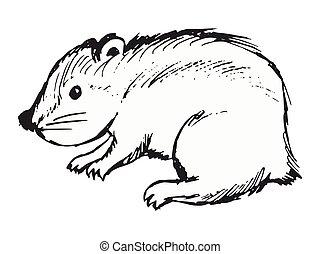 lemming, illustration, vecteur