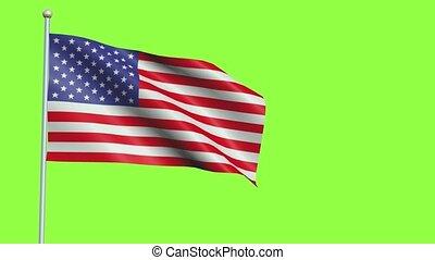 lent, amérique, etats, drapeau, 4, mouvement, uni