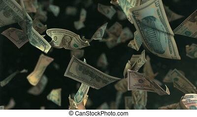 lent, argent, dollar, loopable, mouvement, 4k, tomber