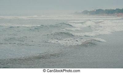 lent, bali, océan, mouvement, vagues, plage