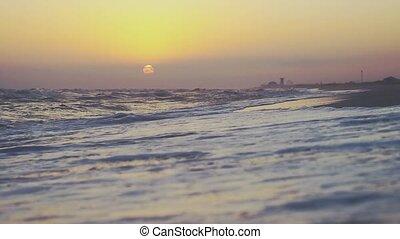 lent, beauté, irrigation, motion., 1920x1080, coucher soleil, sablonneux, vagues, pendant, plage, hd