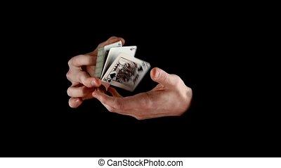 lent, brouiller, mouvement, noir, magicien, cartes