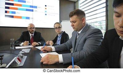 lent, compagnie, joint-stock, mouvement, directeurs, réunion conseil