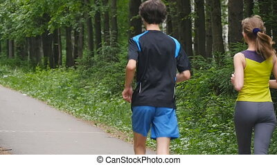lent, couple, mouvement, parc, jogging, heureux