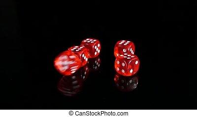 lent, dés, lancement, motion., arrière-plan., 2, noir, pack., rouges