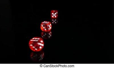 lent, dés, lancement, motion., arrière-plan., 3, noir, pack., rouges