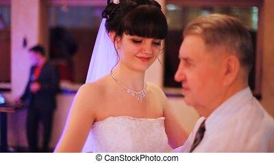 lent, fille, danse, père, danses, mariage, sien