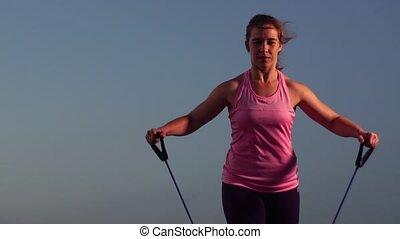 lent, fonctionnement, sportive, -, mouvement, coucher soleil, dehors