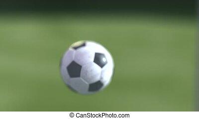 lent, goal., football, mouvement, rendre, balle, 4k, slowmotion, football