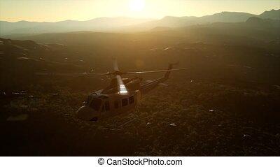 lent, hélicoptère militaire, etats, uni, vietnam, mouvement