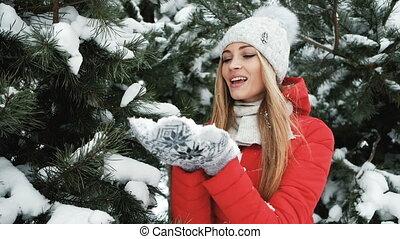 lent, hiver, neige, femme, glacial, souffler, tir