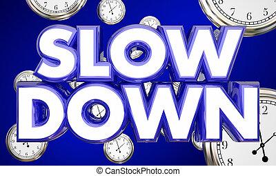 lent, illustration, bas, clocks, mots, chronométrer passer, 3d