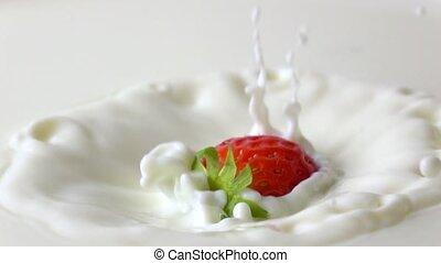 lent, irrigation, mouvement, fraise, vidéo, super, crème