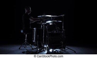 lent, jeux, énergique, drum., mouvement, arrière-plan., batteur, musique, noir, vue., côté