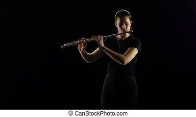 lent, jeux, flûte, femme, arrière-plan noir, studio, melody.
