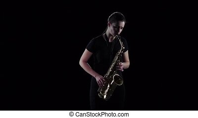 lent, jeux, jazz, mouvement, saxophone, femme, mélodie