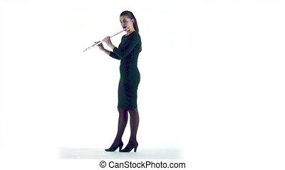 lent, jeux, motion., flûte, femme, studio, mélodie, blanc