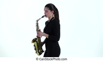 lent, jeux, mouvement, femme, saxophone, robe noire, melody.