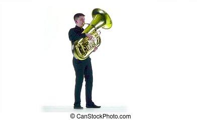 lent, jeux, tuba, mouvement, mélodie, homme, blanc, studio.