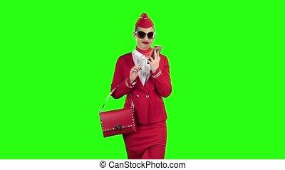 lent, loin, screen., mouvement, téléphone, étapes, hôtesse, complet, vert, parle, rouges