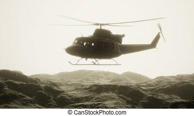 lent, militaire, etats unis, hélicoptère, mouvement, vietnam