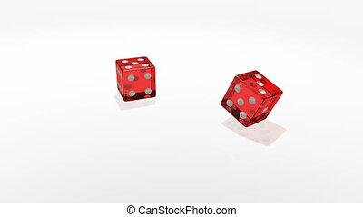 lent, motion., transparent, cubes, tomber, miroir, table, blanc, casino, rouges
