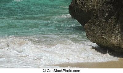 lent, océan, mouvement, littoral, vagues, briser, falaise
