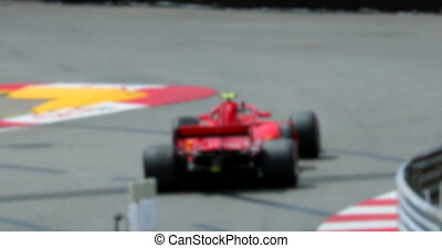 lent, piste, voiture, une, mouvement, course, formule, vitesse, rouges