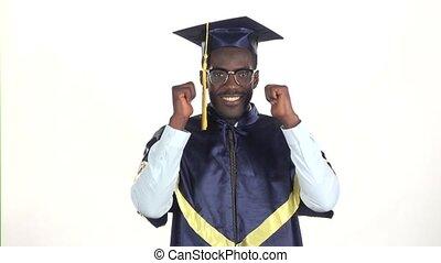 lent, projection, motion., haut, remise de diplomes, thumbs., white., fin, lunettes