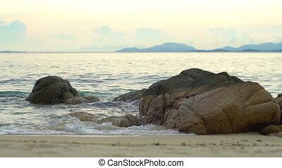 lent, rochers, mouvement, mer, vagues, plage, briser