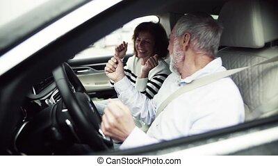 lent, séance, couple, motion., voiture, personne agee, fun., avoir, heureux