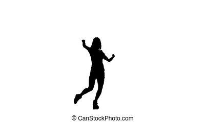 lent, silhouette, danse, mouvement, élégant, femme, gracieux, fond blanc