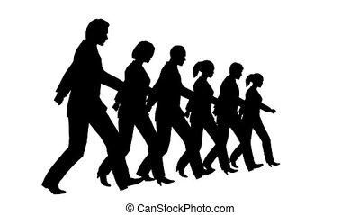lent, silhouette, professionnels, mouvement, faire boucle, 6, marcher