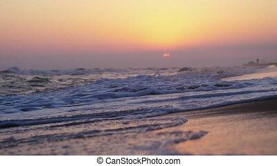 lent, soir, motion., plage, vagues
