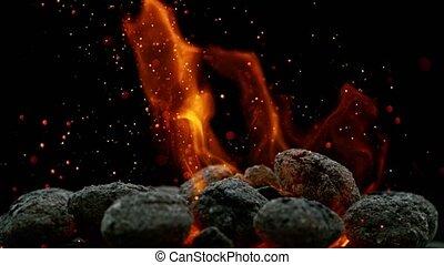 lent, super, mouvement, noir, charbon de bois, feu