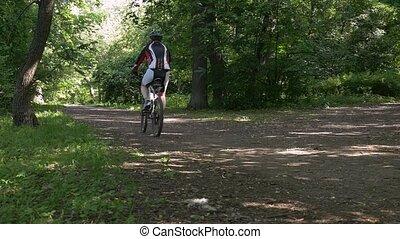 lent, vélo, athlète, mouvement, park., équitation, mâle
