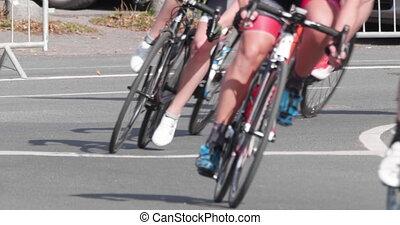 lent, vélo, marathon., roues, 4k, -, cyclisme, mouvement
