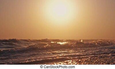 lent, vagues, motion., coucher soleil, temps, plage