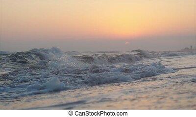 lent, vagues, mouvement, time., coucher soleil, mer, 3840x2160, pendant, plage