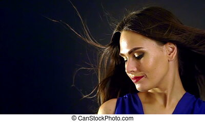 lent, wind., motion., cheveux, souffler, noir, portrait, girl