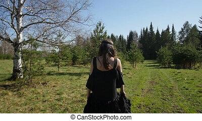 lent, woods., jeune, mouvement, va, girl