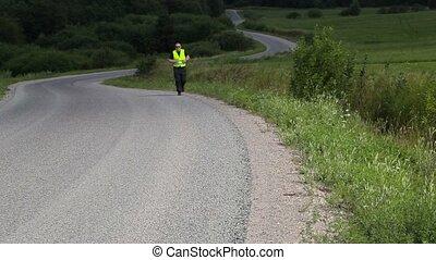 lentement, course, autoroute, homme