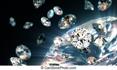 lentement, diamants, tomber
