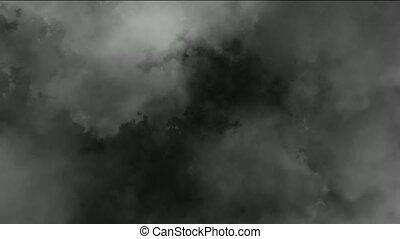 lentement, nuages fumée, sombre, voler, &