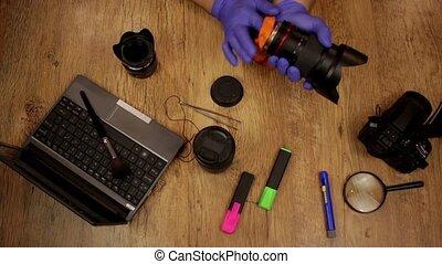 lentille, appareil photo, nettoyage