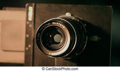 lentille, appareil photo, voyante, retro, format